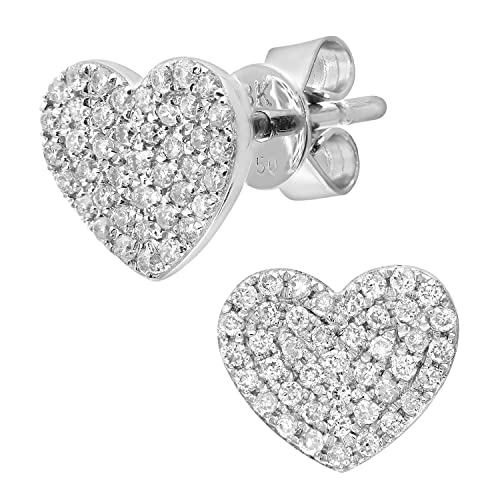 Naava 0.25 ct Pave Set Diamond Heart 18 ct White Gold Stud Earrings