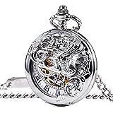 TREEWETO Mechanical Pocket Watch - Dream Dragon Skeleton Half Hunter Double Open Silver Case
