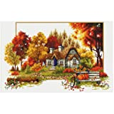 TINMI ATRS DIY Stamped Cross Stitch Landscape Kits Thread Needlework Embroidery Printed Pattern 11CT Home Decoration Four Seasons (Autumn) (Color: autumn)