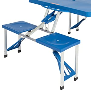 94d0483cd51 Best Choice Products Kids Outdoor Portable Plastic Folding Picnic Table  Camping with 4 Seats (Color  blue