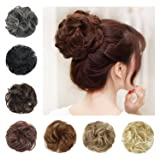 BARSDAR Wavy Curly Messy Bun Updo Hairpiece Scrunchy Scrunchie Ribbon Ponytail Hair Extensions Hair Piece Donut Synthetic Hair Chignons Wigs for Women --Auburn Brown