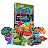 NATIONAL GEOGRAPHIC Mega Slime & Putty Lab - 4 Types of Amazing Slime + 4 Types of Stretchable Putty Including Magnetic Putty, Fluffy Slime & Glow-in-the-Dark Putty (Color: And Glow-in-the-dark Putty)