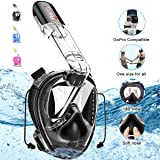 RKD Snorkel Mask Full Face, Upgrade Anti-Fog No Leaking Easybreath, 180° Panoramic View Snorkeling Mask with Ear Plugs Camera Mount Universal Size fo