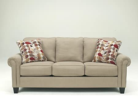 Ekron Oatmeal Collection Contemporary Fabric Upholstery Rolled Arms Sofa Couch