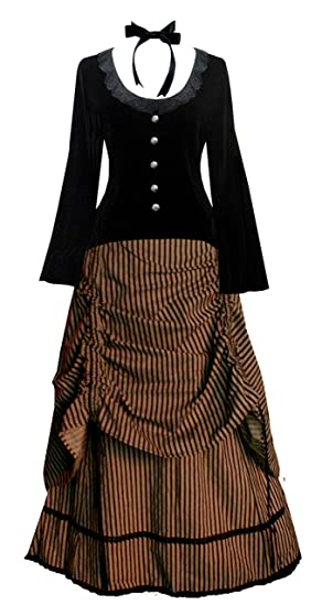 Late Victorian Dress Costume                                                    Victorian Valentine Steampunk Gothic Civil War Striped Womens Top & Skirt                               $142.00 AT vintagedancer.com