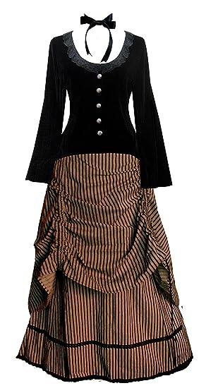 VictorianInspiredWomensClothing Late Victorian Dress Costume                                                    Victorian Valentine Steampunk Gothic Civil War Striped Womens Top & Skirt $142.00 AT vintagedancer.com
