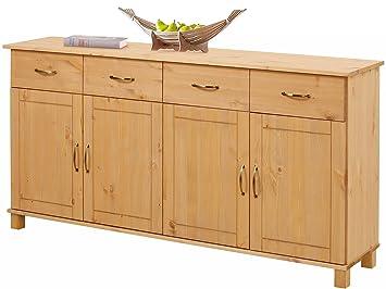 Landhaus Sideboard Kommode PASHA Kiefer massiv., 2 Schubladen, 4 Turen, 156 x 34 x 77 cm, gebeizt geölt