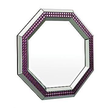 Premier Housewares Modena Octagonal Wall Mirror - 92.5 x 92.5 cm, Purple/Clear