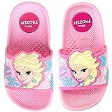 Joah Store Girls Frozen Elsa Sisters Forever Slide Sandals Pink Cushion Anti Slip Snow Flakes Shoes (11 M US Little Kid, Frozen Elsa) (Color: Frozen Elsa, Tamaño: 11 M US Little Kid)