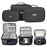 BUBM 3Pcs/Set Computer Cable Electronic Organizer Travel Packing Gadgets Bag Pouch for Cables,External Flash Drive,Mouse,Memory Card,Power Bank (Color: Black,S/M/L, Tamaño: S/M/L)