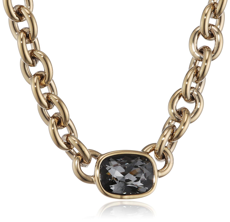 Dyrberg/Kern Damen-Kette ohne Anhänger 15/02 Elisa Sg Grey Messing teilvergoldet Kristall grau 57.5 cm - 337640
