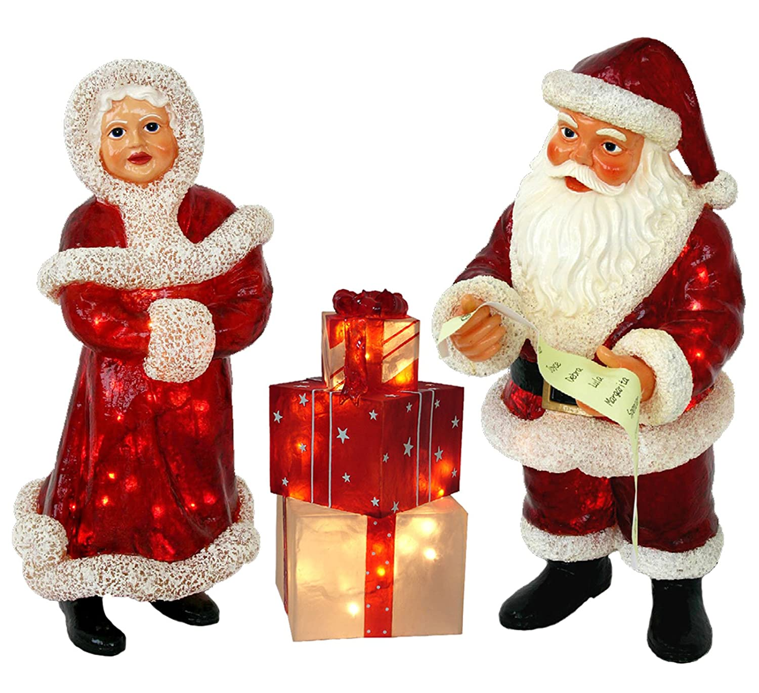 Lighted Outdoor Santa and Mrs. Clause Set