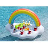 Jasonwell Inflatable Rainbow Cloud Drink Holder Floating Beverage Salad Fruit Serving Bar Pool Float Party Accessories Summer Beach Leisure Cup Bottle Holder Water Fun Decorations Toys Kids Adults (Color: Rainbow Drink Holder)