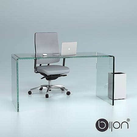 Design Schreibtisch aus 15mm Echtglas (B/T/H) 1400x700x730mm - klarglas