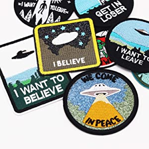 8pcs Alien Spaceship Iron on Patches Embroidered Motif Applique Decoration Sew On Patches Custom Patches for DIY Jeans, Jacket,Kid's Clothing, Bag, Caps, Arts Craft Sew Making (Alien 8pcs) (Color: Alien 8pcs)