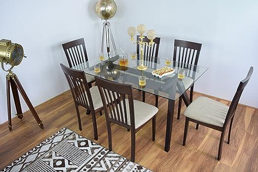 NUEVO Moderno de Cristal Rectangular mesa de comedor y 6sillas mesas Vajilla de madera madera maciza Muebles de Cocina Restaurante Sala rectangular conjuntos