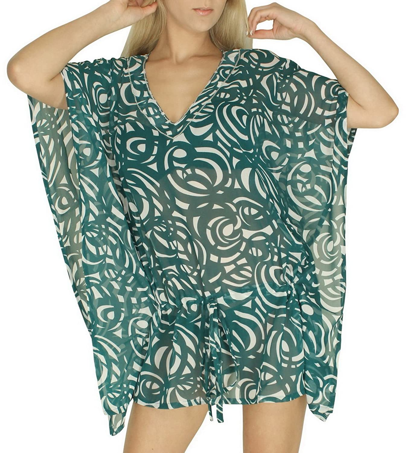 La Leela Sheer Chiffon Allover Printed Kaftan Beach Swim Cover up Cgreen bohemia ethnic printed beach chiffon cover up