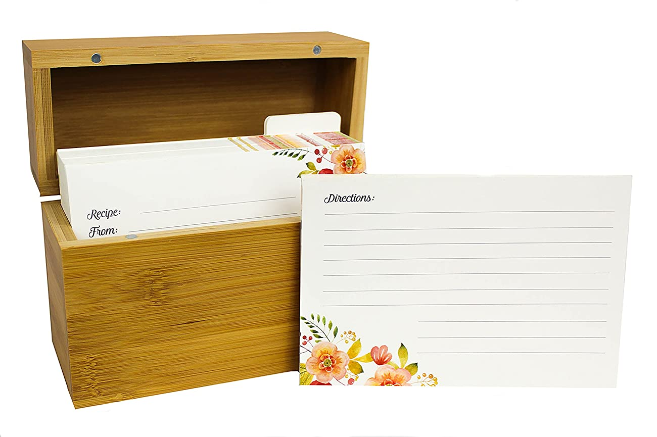 Bamboo Recipe Box Set With 100 Recipe Cards & 10 Blank Dividers | Holds Up To 200, 4x6 Cards | From Splendid Chef 4