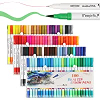 100-Pack Magicfly Dual Marker Pens with Highlighters Brush