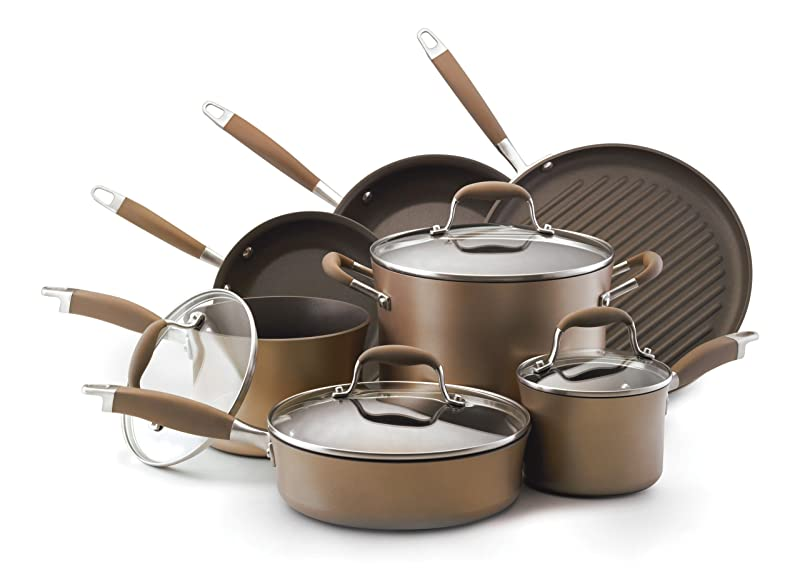 Anolon Advanced Bronze Hard Anodized Nonstick 11-Piece Cookware Set via Amazon