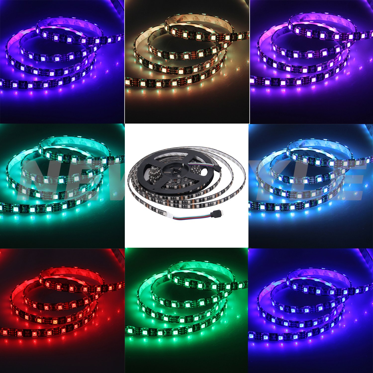 NEWSTYLE Black PCB Celebration LED Strip Lighting 16.4ft 5M Waterproof Rope Lights 300 LEDs 5050 SMD RGB Multicolored