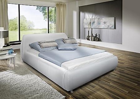 SAM® Design Polsterbett Dallas in weiß Bett Liegefläche 180 x 200 cm stilvolle Chromfuße moderne Linienfuhrung abgerundetes Kopfteil als Wasserbett verwendbar