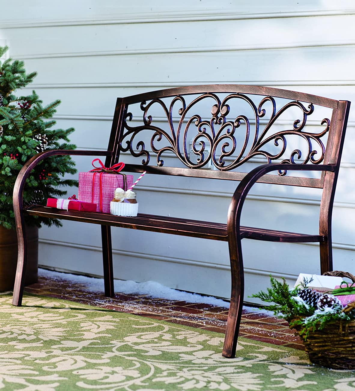 Plow & Hearth Blooming Patio Garden Bench Park Yard Outdoor Furniture, Iron Metal Frame, Elegant Bronze Finish, Easy Assembly 50 in L x 17 1/2 in W x 34 1/2 in H 2