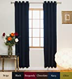 Navy Nickel Grommet Top Energy Saving Thermal Insulated Blackout Curtain 84 Inch Length Pair