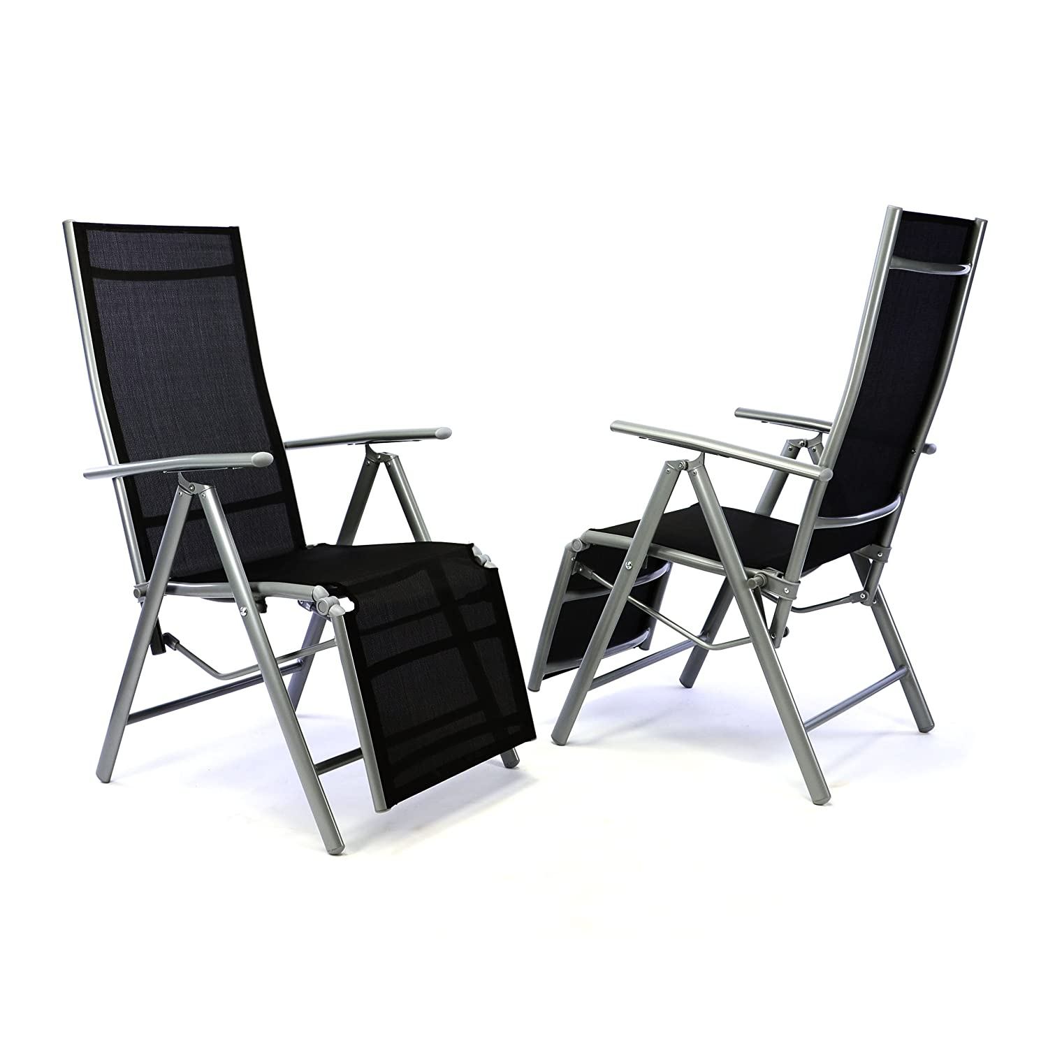 2er set alu liegestuhl klappstuhl mit fu st tze hochlehner sonnenliege terrasse online kaufen. Black Bedroom Furniture Sets. Home Design Ideas