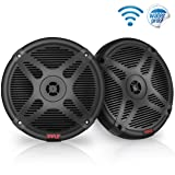6.5 Inch Bluetooth Marine Speakers - 2-Way IP-X4 Waterproof and Weather Resistant Outdoor Audio Dual Stereo Sound System with 600 Watt Power and Low Profile Design - 1 Pair - Pyle PLMRBT65B (Black) (Color: Black)