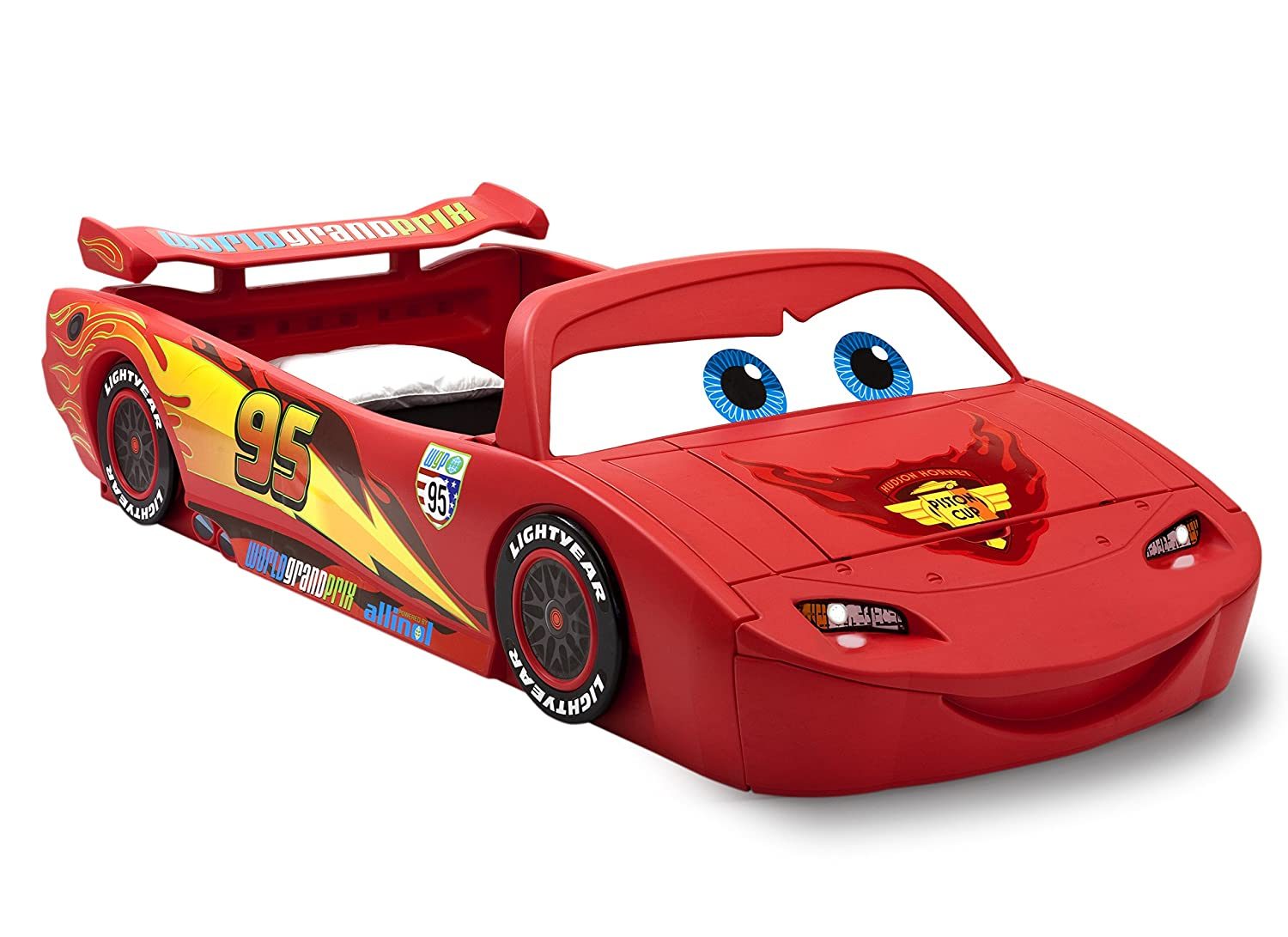Amazon.com : Delta Children Cars Lightning Mcqueen Toddler-To-Twin Bed with Lights and Toy Box, Disney/Pixar Cars
