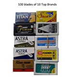 100 Shaving Safety Razor Double Edge Blades of 10 Top Brands - Feather ASTRA PERSONNA.Sampler Pack