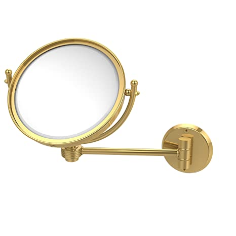 Allied Brass WM-5G/5X-PB 8-Inch Wall Mounted Make-Up Mirror with 5x Magnification, Polished Brass