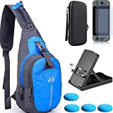 YB-OSANA 5 in1 Crossbody Travel Bag For Swtich Console +Hard Case Bag+Adjustable Switch Stand+ Switch Screen Protector+ Switch Joycon Thumb Grips For Nintendo Switch Travel Accessory