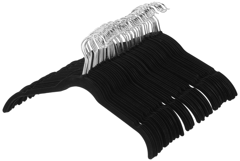 AmazonBasics Velvet Shirt/Dress Hangers, Black