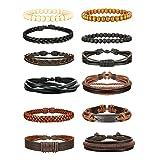 Jstyle 12Pcs Braided Bracelet for Men Beaded Bracelets Wrap Leather Wooden Bracelets Adjustable (Color: 12pcs B)