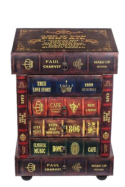 Kleinmöbel, HY1G014 Kommode, schweres Regal im Buchlook, Teeschrank, Holz Telefontisch, Kommode, jedes Buch ist eine Schublade, 6 Schubladen, Flurkommode, Tisch, im Vintage Shaby Look, Antikoptik, Holz, Maritim, Deko, Hochwertig, 64 cm hoch 36 cm tie