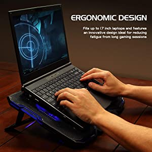 ENHANCE Cryogen Gaming Laptop Cooling Pad - Fits up to 17 inch Computer - Adjustable Laptop Cooling Stand with 5 Ultra Quiet Cooler Fans, 2 USB Ports and LED Lighting - Slim Portable Design 2500 RPM (Color: Blue)
