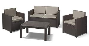 Allibert 212145 Lounge Set Victoria (2 Sessel, 1 Sofa, 1 Tisch), Rattanoptik, Kunststoff, braunKritiken und weitere Infos