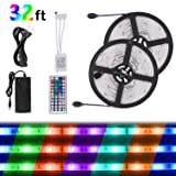 SUNNEST Remote Controlled LED Strip Kit, 2 x 16.4FT 300LEDs SMD5050 RGB Strip Light, Waterproof Rope Light with 44-Key IR Controller + 12V Power Supply for Home Garden Decoration