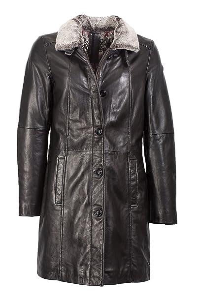 Trendiger Ledermantel fur Damen in schwarz von Milestone, ein Lederkurzmantel in stylischer Form aus weichem Leder!