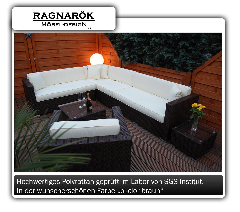 PolyRattan Lounge DEUTSCHE MARKE — EIGNENE PRODUKTION 7 Jahre GARANTIE Garten Möbel incl. Glas und Polster Ragnarök-Möbeldesign braun Gartenmöbel jetzt kaufen