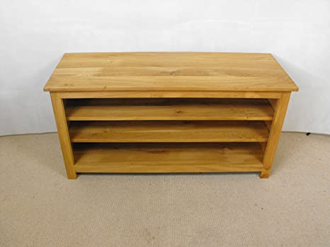 Mueble para televisor de madera de roble, armario o función atril, 900 x 550 mm con 2 baldas regulables, ideal para el dormitorio o el salón.