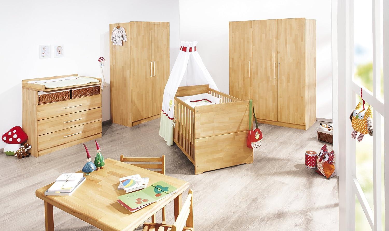 Pinolino Kinderzimmer Natura breit groß, 3-teilig, Kinderbett (140 x 70 cm), breite Wickelkommode mit Wickelansatz und großer Kleiderschrank, Buche massiv, geölt (Art.-Nr. 10 21 74 BG)