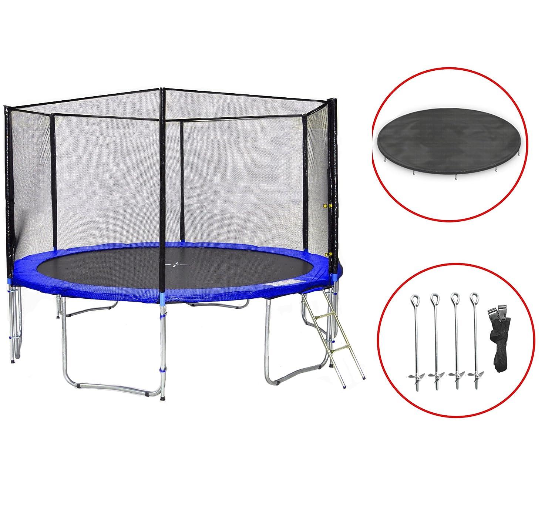 SB-400-B Gartentrampolin 400cm incl. Netz, Leiter, Wetterplane & Bodenanker, 180kg Traglast jetzt kaufen