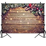 Allenjoy 7X5FT Christmas Wood Backdrop for Kids Photography Snowflake Gold Glitter Xmas Decorations Rustic Barn Vintage Wooden Floor Photo Background Portrait Studio Booth Props Photobooth (Color: Christmas Wood, Tamaño: Thin Vinyl 7X5FT)