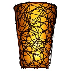 Exciting Lighting EZ5110 Battery Powered Fluted LED Wall Sconce with Interlocking Twine and Remote Control Cream and Brown