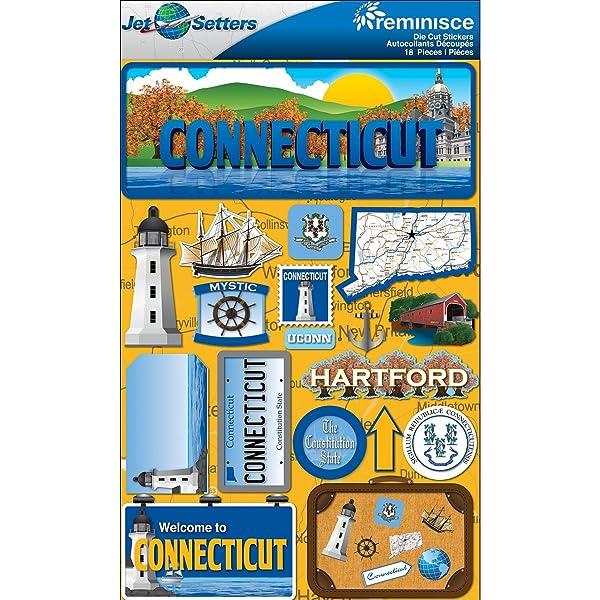 Reminisce Jet Setters 2 3-Dimensional Sticker, Connecticut
