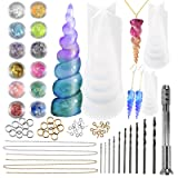 Funshowcase Unicorn Horn Resin Molds Jewelry Casting Kits 3 Silicone Trays 65 Findings, Soap Candle Concrete and More (Color: Clear)