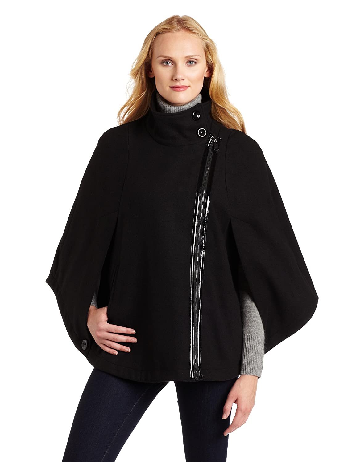 Cape outerwear: Via Spiga Women's Zip Close Cape